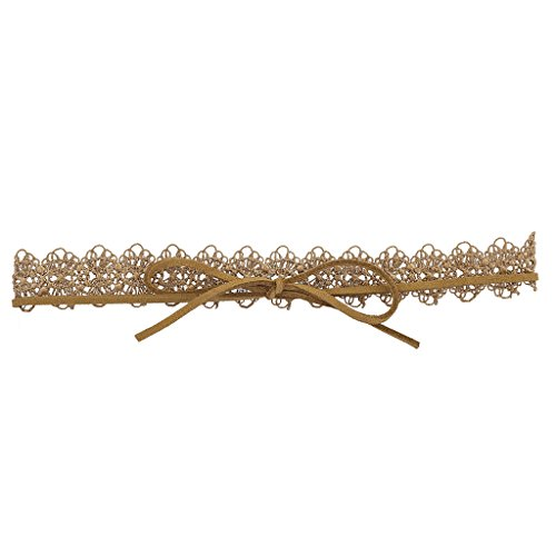 Lux Accessories Tan Filigree Lace Victorian Style Trendy Suede Wrap Choker