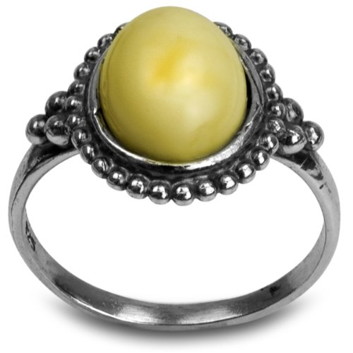 erscotch Amber Oval Stone Victorian Look Ring (Grand Flora Stone)