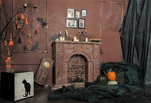 Leyiyi 10x8ft Happy Halloween Backdrop Abandoned House Spidar Web Rustic Fireplace Black Cat Pumpkin Window Curtain Photo Background Cowboy Horror Costume Party Portrait Studio Prop Vinyl -