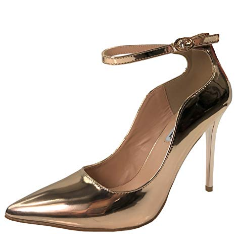 - Womens Classic Elegance High Heel Pumps with Ankle Strap, Rose Gold, 6.5