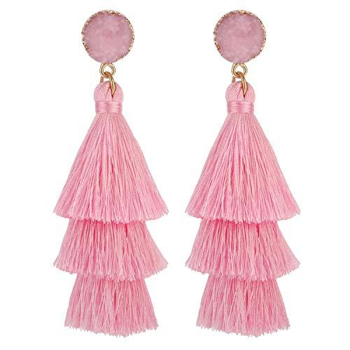 Pink Tassel - LEGITTA Pink Tassel Earrings with Druzy Stud Thread Layered Tiered Linear Drop Dangle Fashion Bohemian Earrings for Women Girls