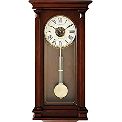 Howard Miller Sinclair Wall Clock 625-524 - Cherry Wood Bordeaux with Quartz, Triple-Chime Movement