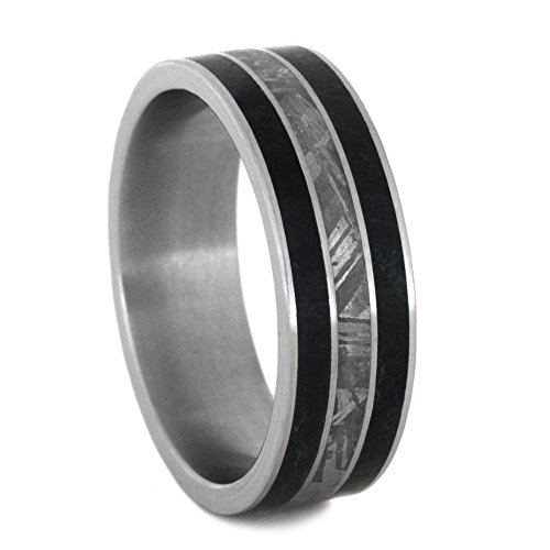 Black Jade, Gibeon Meteorite 8mm Comfort-Fit Brushed Titanium Wedding Band, Size 10 by The Men's Jewelry Store (Unisex Jewelry)