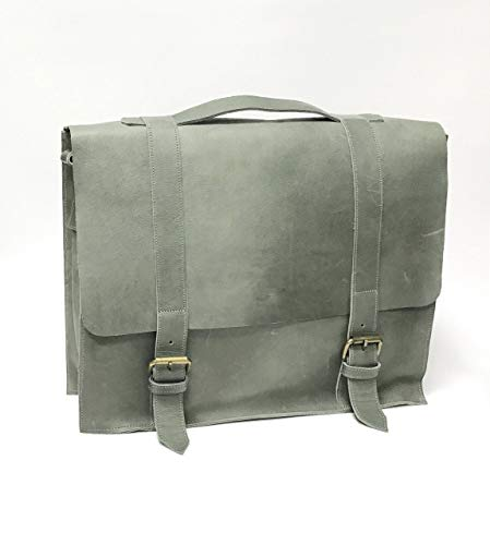 Gray Laptop Attache (ON SALE Gray Briefcase Messenger Lap top Bag | Attache Bag | African Leather Satchel | Stylish Man/Lady | Lawyer/Counselor Bag)