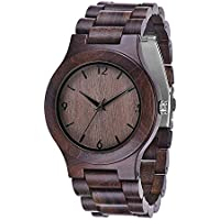 Wood Watch, Juswoo Mens Wooden Watch with Japanese Movement, Real Natural Wood Dial, Black Ebony Wood Quartz Wrist Watch