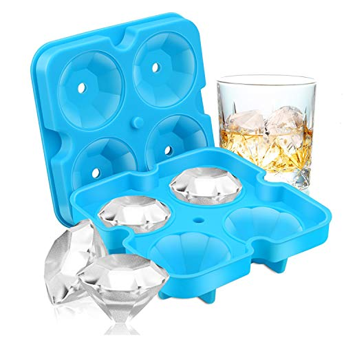 Ice Cube Trays, Diamond-Shaped Fun Ice Cube Molds BPA Silicone Flexible Ice Maker for Chilling Whiskey Cocktails(Blue)