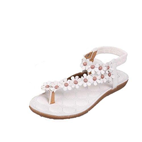 Sandalias del verano de las mujeres, Internet Bohemia de la manera dulce con cuentas de clip del dedo del pie zapatos de las sandalias de playa espina de pescado Blanco