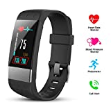 HEXU Fitness Tracker with Heart Rate Monitor, Screen Smart Bracelet, Activity Tracker Blood Pressure Monitor, Calorie Counter IP67 Waterproof for Kids Women Men and Android iOS