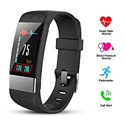 Hexu Fitness Tracker With Heart Rate Monitor, Screen Smart Bracelet, Activity Tracker Blood Pressure Monitor, Calorie Counter Ip67 Waterproof For Kids Women Men & Android Ios