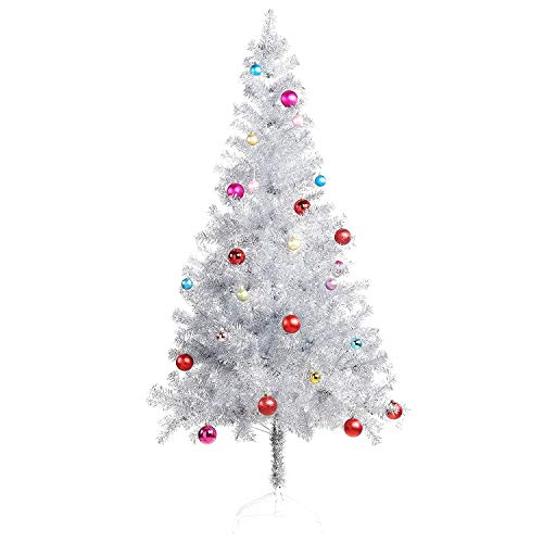 Artificial Christmas Tree. This Fake Xmas Tree 6 ft. Looks Real, Natural. Great for Indoor, Outdoor, Home, Yard, Patio, Backyard, Gazebo, Front Porch, Deck Holiday Season Party Decor (Silver)