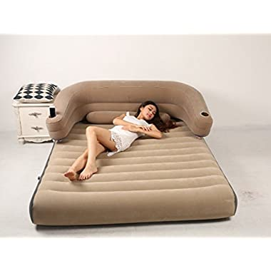 Modovo 1-in-2 Backrest Air Mattress Sofa with Removable Back Cushion & Lumbar Support Cushion & Cup Holder