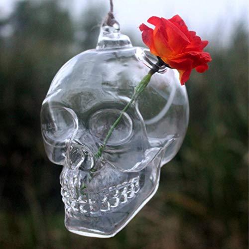 Transer- Hanging Skull Shape Glass Flower Vase Plant Pot Ball Terrarium Container Home Hallowmas Decor (Clear)