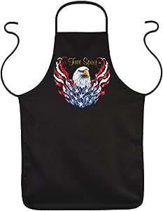 Estados Unidos de Biker–Barbacoa de diversión Delantal/FUN Koch/de parrilla delantal: Free Spirit Estados Unidos–Party/FUN de delantal/águila