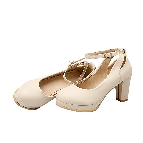 Pu High Closed Round Shoes Toe Pumps WeiPoot Women's Heels Buckle Solid apricot C4UAwq