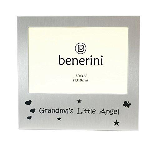 (benerini 5-Inch-by-3.5-Inch Brushed Aluminum Satin Grandmas Little Angel Aluminum Expression Photo Frame, Brushed Satin Silver)