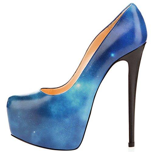 Fsj Vrouwen Trendy Puntschoen Pumps Slip Op Stilettos Hoge Hakken Jurk Dansschoenen Maat 4-15 Ons Zeeblauw