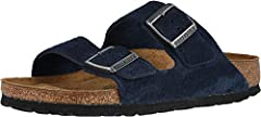 Women's Birkenstock, Arizona Soft Footbed - Narrow Fit. The classic Birkenstock two strap slide for all day comfort . Upper: oiled nubuck leather Suede lined insole keeps feet fresh and dry Pronounced arch support Deep heel cup Soft footbed h...