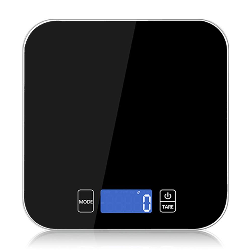 AOTE-H Elektronische Digitale Küchenwaage, Präzises Wägen von 7 Einheiten Umwandlung Niederspannungsanzeige LED-Anzeige Geeignet zum Kochen, Kaffee, Backen,Black