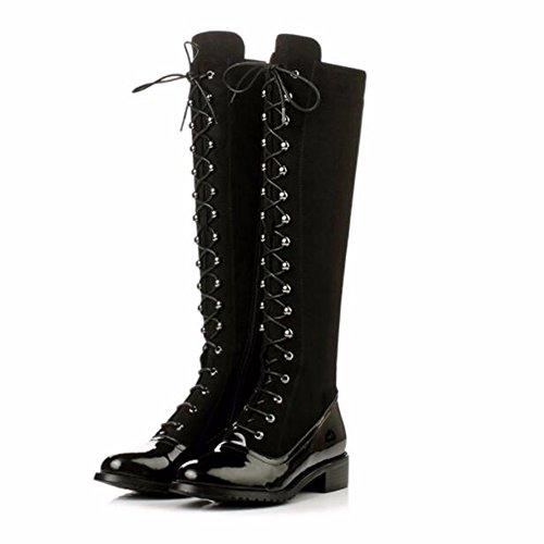 HXVU56546 Rauhe Ferse Stiefel Neue Winter Martin Stiefel Hohe Stiefel mit Dickem Kopf mit Dünnen Stiefel Black