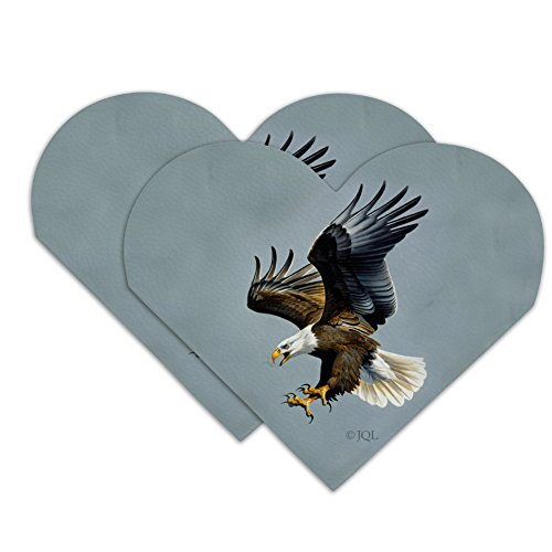 Screaming Bald Eagle Diving Catching Prey Heart Faux Leather Bookmark - Set of 2
