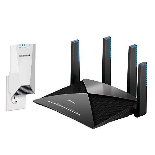 NETGEAR Nighthawk X4S Wall-Plug Tri-Band WiFi Range Extender (EX7500) with NETGEAR Nighthawk X10 – AD7200 802.11ac/ad Quad-Stream MU-MIMO WiFi Router (R9000)