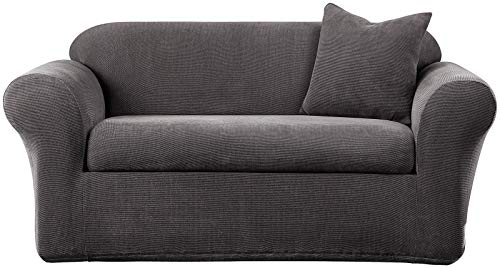 Metro Side Chair 2 Chairs - SureFit SF39413 Stretch Metro Sofa Slipcover, Gray, 2 Piece