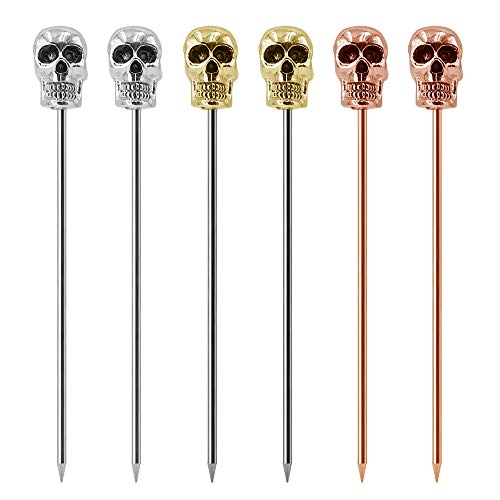 Homestia Cocktail Picks Stainless Steel Olive Picks Multicolor Reusable Skull Martini Picks 4.4