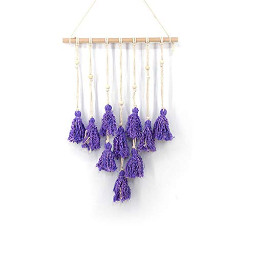 - Tenghe Vintage Woven Wall Hangings Tapestry Tassles Wall Decorations for Living Room Guest Room Sofa Wall Wedding Decor(Purple,24.4
