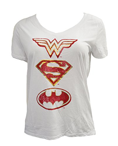 Wonder+Woman+Shirts Products : DC Comics Women's Juniors Justice League Logos V-Neck Shirts