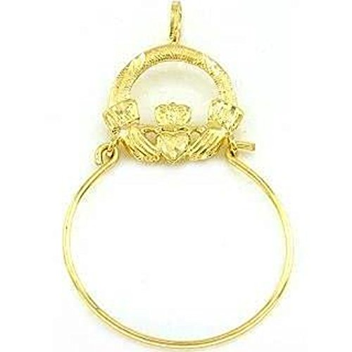 14K Gold Claddaugh Charm Holde