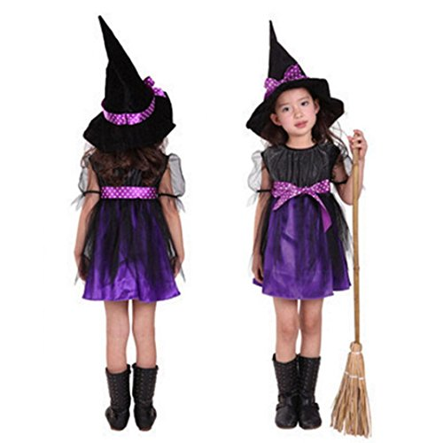 Dream Room Toddler Kids Baby Girls Witch Dress Up Halloween Children Performing Clothes Costume Dress Party Dresses+Witch Hat (4-5T/110, Purple)