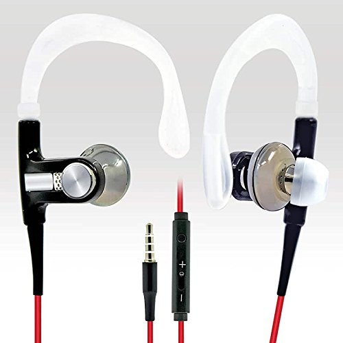 BargainPort Black/Red Color Universal Handsfree 3.5mm Audio Bass Earphone Volume Control With Microphone Sport Headset For Micromax A102 Canvas Doodle 3