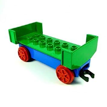 LEGO Duplo Eisenbahn gro/ßer Lok Zug Anh/änger gr/ün blau ohne Seitenwand Aufsatz lang E25