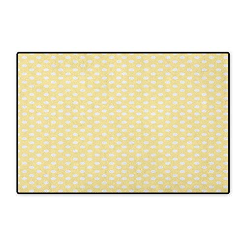 (Polka Dots,Door Mat Outside,Nostalgic Pastel Polka Dots in Never Ending Path Vintage Old-Fashion Artwork,Customize Door Mats for Home Mat,Yellow White,Size,16