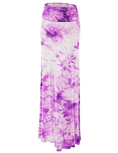 WB1058 Womens Tie Dye Fold Over Maxi Skirt S WHITE_PURPLE