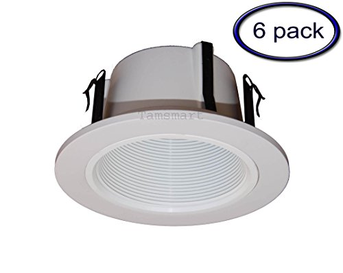 Phenolic Baffle Trim (4 Inches Line Voltage Phenolic Stepped Baffle Trim/trims for Recessed Light/lighting-white Replaces Halo 993W (6 Pack))