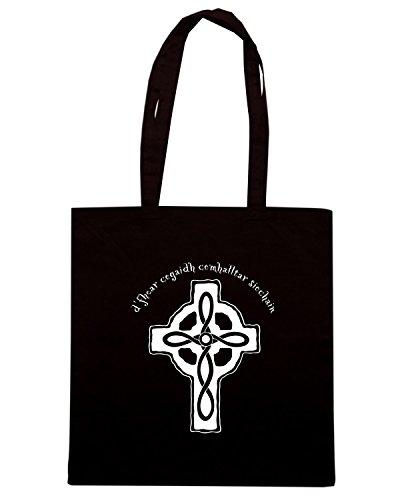 T-Shirtshock - Bolsa para la compra T0108 CELTIC CROSS religioni celtic Negro