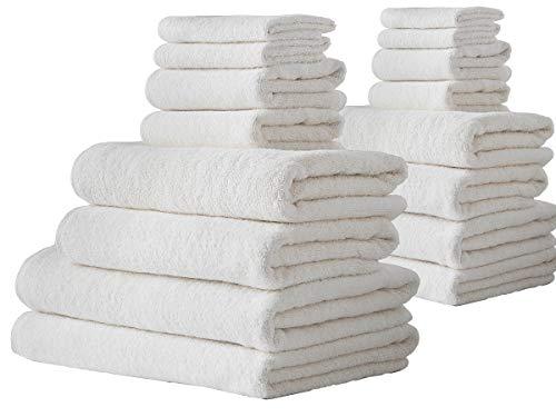 (Barnum Collection 16 Piece Turkish Cotton Bath Towel Set, Ivory )