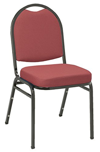 (KFI Seating IM520 Armless Stacking Chair, Commercial Grade, 2-Inch, Burgundy Fabric/Black Frame)