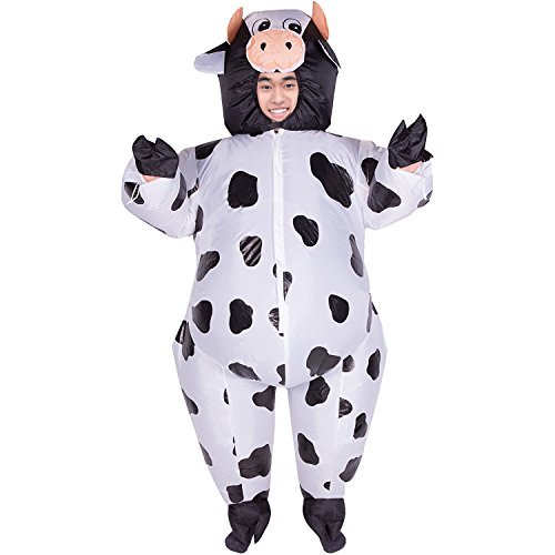 Inflatable Milch Milk Cow Cattle Full Body Jumpsuit Cosplay Costume Halloween Funny Party Fancy Dress