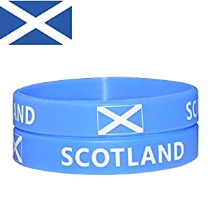 VEWCK Flag Silicone Bracelet Classic Bangle Letter Pattern 40 Countries 2-Pack (Scotland)