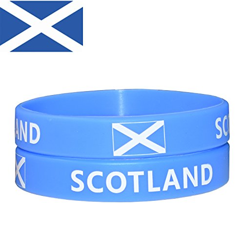 (VEWCK Flag Silicone Bracelet Classic Bangle Letter Pattern 40 Countries 2-Pack (Scotland))