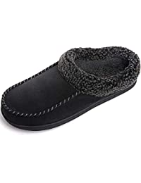 Men's Cozy Memory Foam Moccasin Suede Slippers with Fuzzy Plush Wool-Like Lining, Slip on Mules Clogs House Shoes with Indoor Outdoor Anti-Skid Rubber Sole