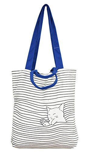 Cat Tote Bag (VigourTrader Women's Pure Cotton Canvas Tote Multi-Purpose Bag Beckoning Cat Pattern For Shopping School Torist)