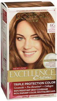 L'Oreal Excellence Triple Protection Permanent Hair Color Creme Light Golden Brown (Warmer), Pack of 6 -  L'Oreal Paris, 476536