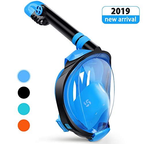 (Greatever G2 Full Face Snorkel Mask with Latest Dry Top System,Foldable 180 Degree Panoramic View Snorkeling Mask with Camera Mount,Safe Breathing,Anti-Leak&Anti-Fog)