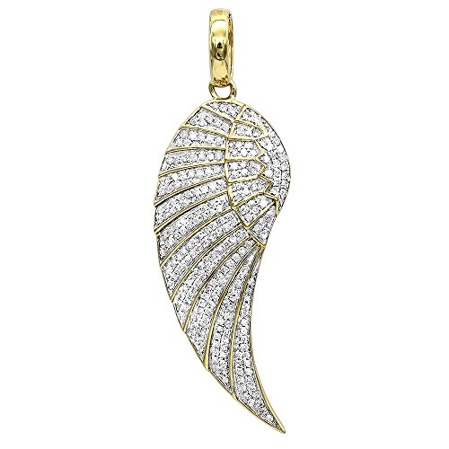 Mini 10K Rose, White or Yellow Gold Diamond Angel Wing Necklace Pendant 0.6ctw (Yellow Gold)