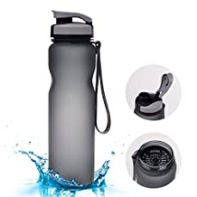 BADALink Sports Water bottle 1L / 36oz Tritan BPA-Free Drink Cup for Exercise Camping with Brush