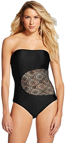 Mossimo Womens Crochet Bandeau - Mossimo Women's Crochet One Piece Swimsuit (Small, Black)