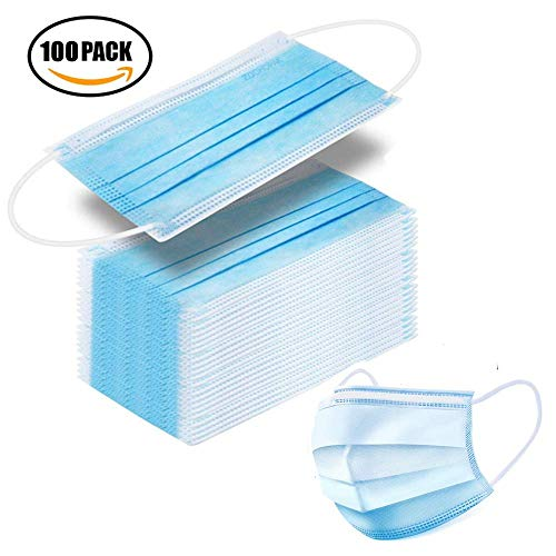 100 Pcs Disposable Surgical Mask Ear Loop Face Masks Medical Mask Germ Protection 3 Layer Surgical Dust Filter Earloop Mouth Cover-Blue